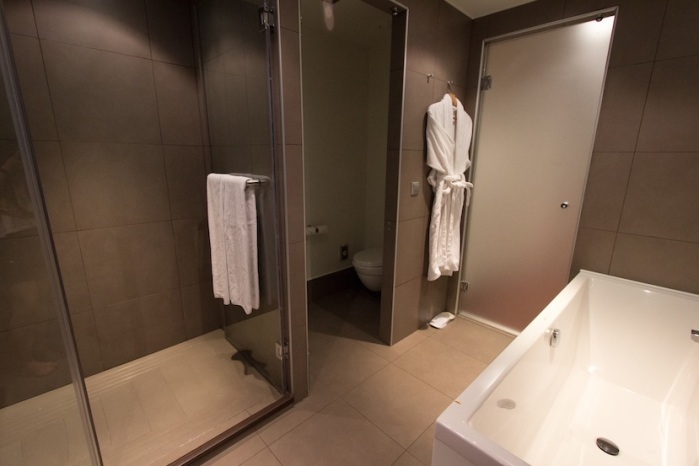 Bathroom facilities that's half the size of my room back home!